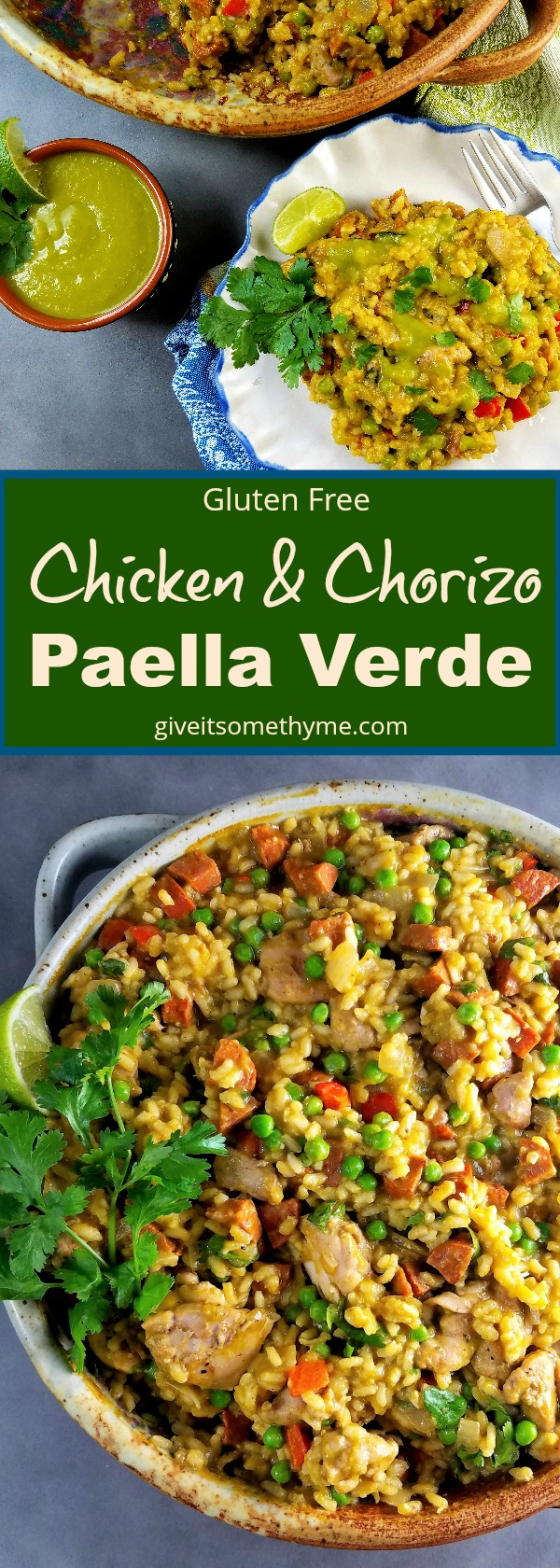Chicken & Chorizo Paella Verde - Give it Some Thyme
