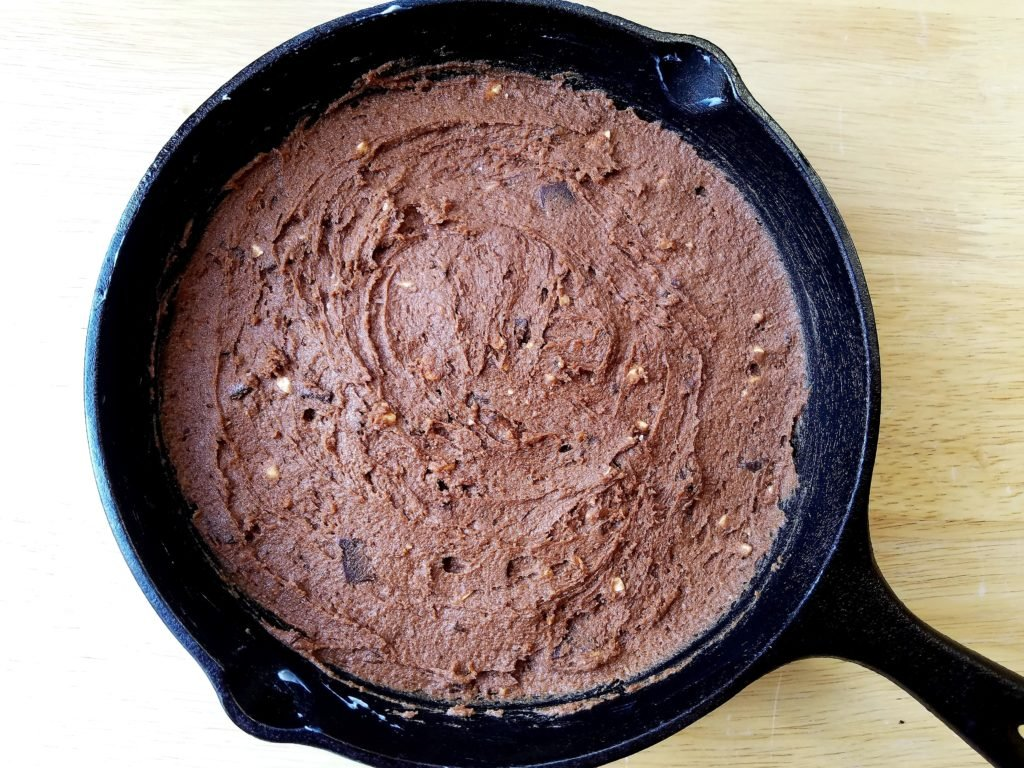 Double Chocolate Cashew Cookie Batter in Skillet