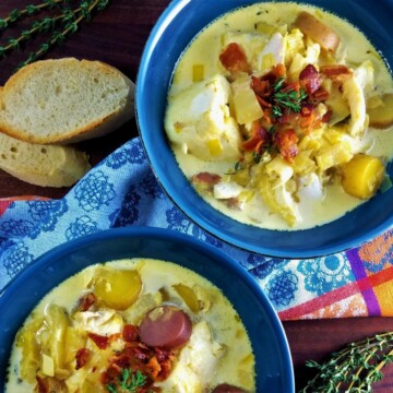 Fish Leek and Potato Chowder with Saffron and Thyme