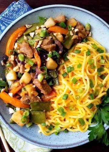 Pork and Pear Stir Fry Noodle Bowl