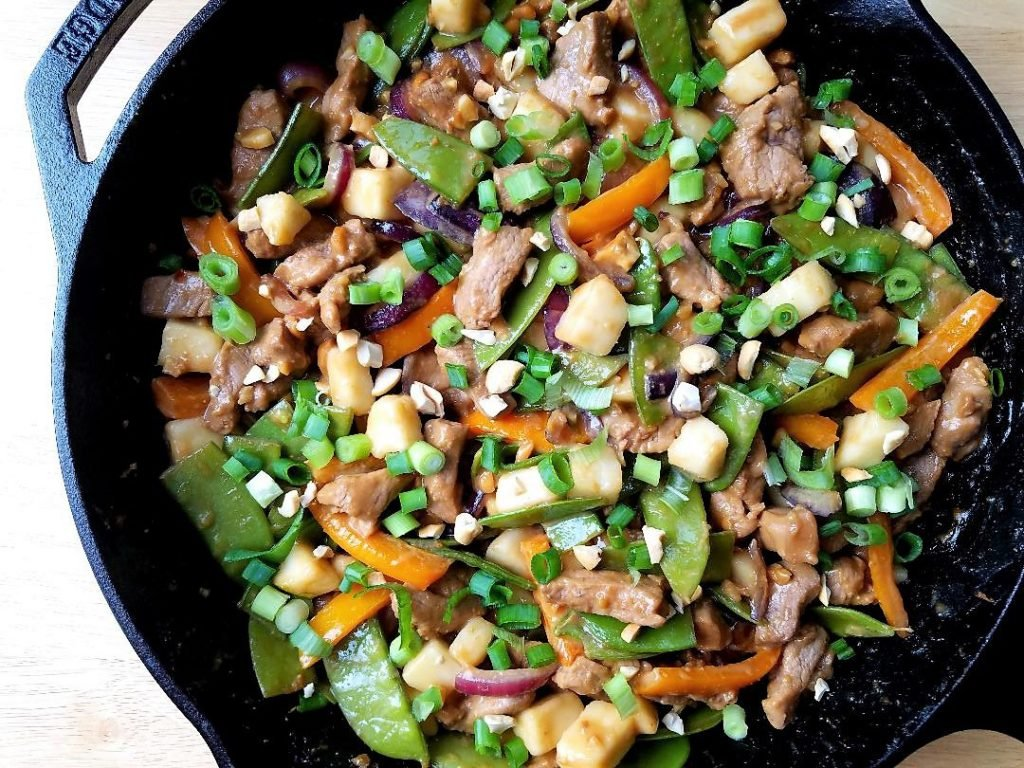 Pork and Pear Stir Fry in Skillet