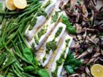 Sheet Pan Roasted Halibut with Green Beans Shiitake Mushrooms and Cilantro Pistachio Pesto