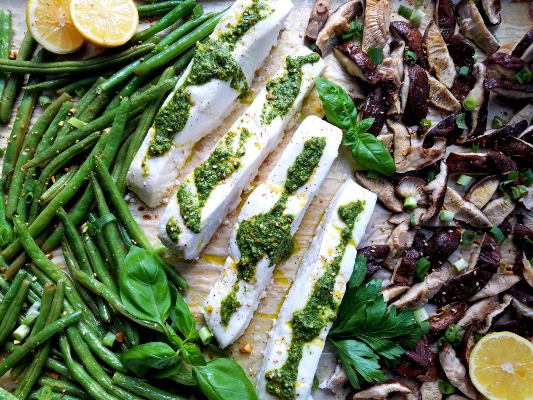 Sheet Pan Roasted Halibut - Give it Some Thyme - a delicious sheet pan recipe of fresh halibut combined with green beans and shiitake mushrooms then coated in a cilantro pesto! #sheetpanrecipe #dinnerrecipe #quickandeasydinner #healthyfallrecipe #weeknightdinnerrecipe #halibutrecipe #halibut #halibuthealthy #halibuteasy #halibutbaked #greenbeans #shiitakemushroomrecipe #pesto #besthalibutrecipes #besthalibutdinners
