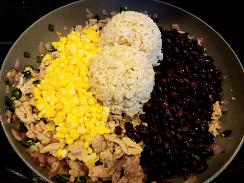 Stuffed Pepper Filling With Turkey Rice Black Beans and Corn Added