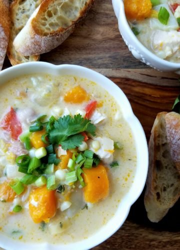 Sweet Corn and Chicken Chowder | Give it Some Thyme – a delicious chowder combining late summer's bounty with cozy flavors of fall! #healthyfallrecipes #cornchowder #chickenchowder #chowderrecipes #cornsoup #chickensoup #heartysouprecipes #gamedayfood #mealprep #freezerfriendly #giveitsomethyme