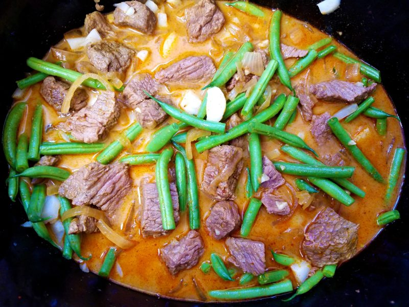 Stew in crockpot with green beans and water chestnuts added.