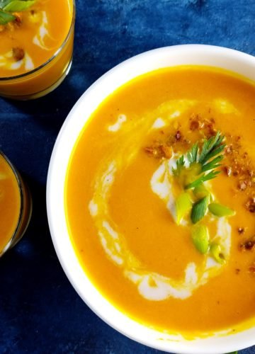 Curried Carrot Coconut Bisque - serve in a bowl or shooters! | giveitsomethyme.com