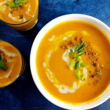 Curried Carrot Coconut Bisque | giveitsomethyme.com - a delicious, vegan and gluten free carrot soup that's full of flavor with a velvety texture and is freezer friendly! #carrotsoup #carrotsouprecipes #carrotsoupvegan #carrotsoupeasy #carrotsouphealthy #carrotbisque #carrotsoupcoconutmilk #curriedsoup #veganandglutenfreesoup #freezerfriendlysoup #freezerfriendlyrecipe