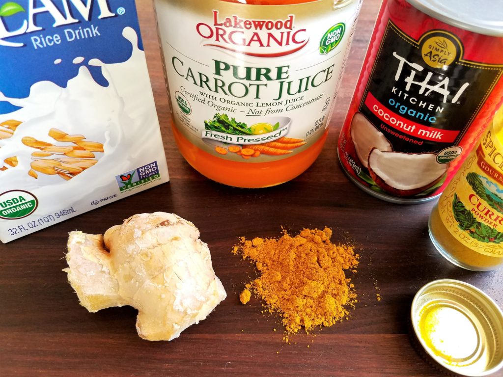 Other Carrot Coconut Bisque Ingredients - rice milk, carrot juice, coconut milk, ginger and curry