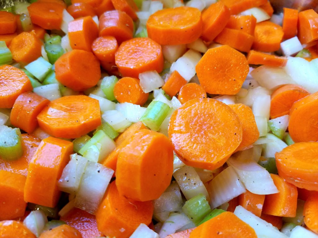 Carrots Onion Celery Cooking for Bisque
