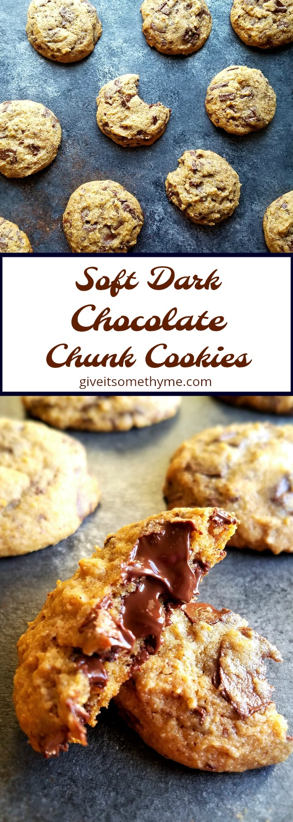 Soft Dark Chocolate Chunk Cookies - Give it Some Thyme