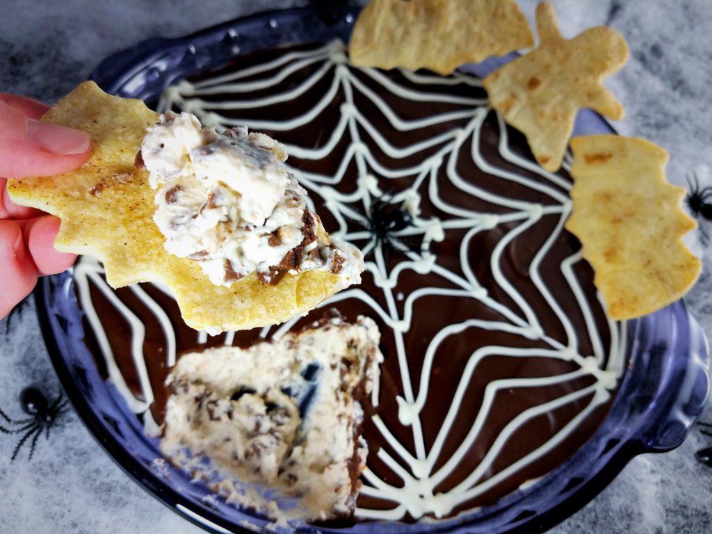 Spooky Choc Glazed Cannoli Dip Served