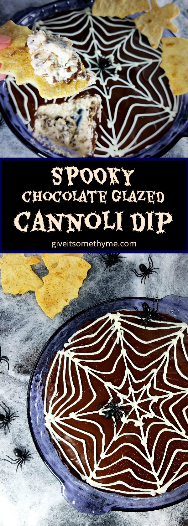 Spooky Chocolate Glazed Cannoli Dip - Give it Some Thyme