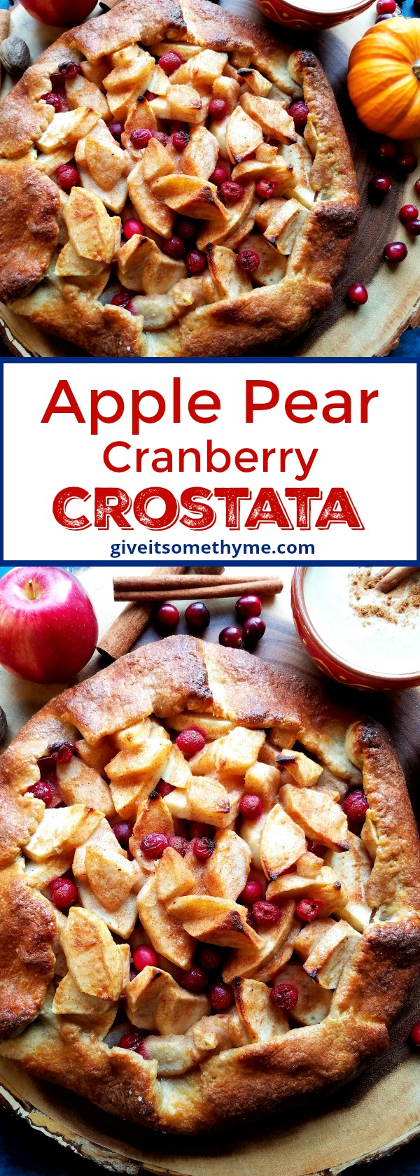 Apple Pear Cranberry Crostata - Give it Some Thyme