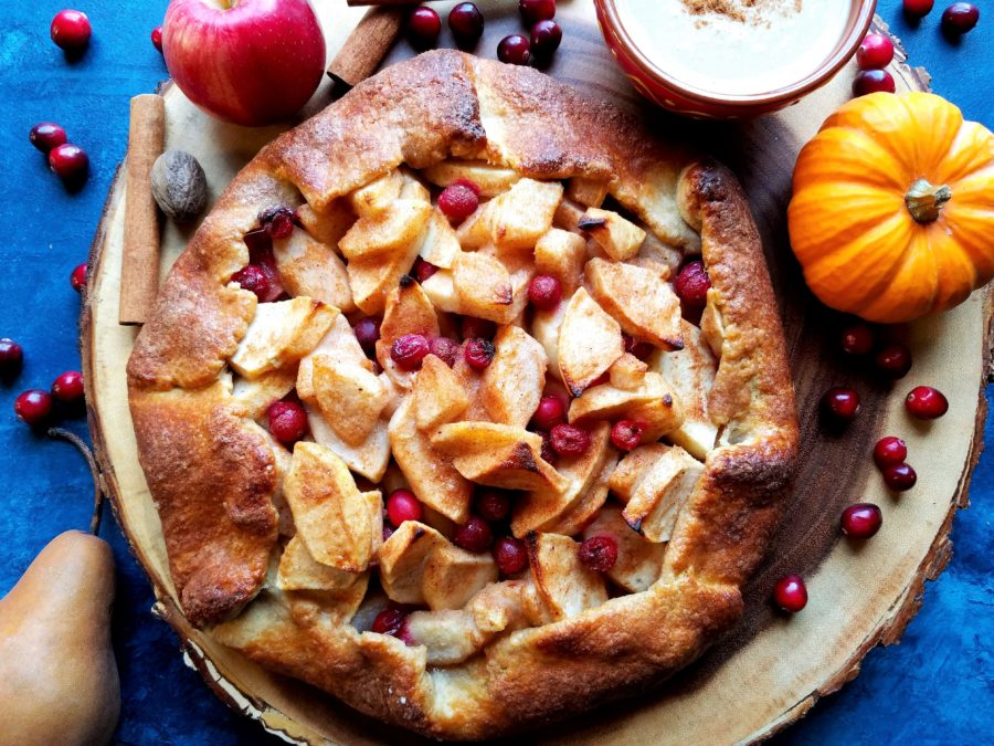 Apple Pear Cranberry Crostata with Pumpkin Caramel Sauce | giveitsomethyme.com