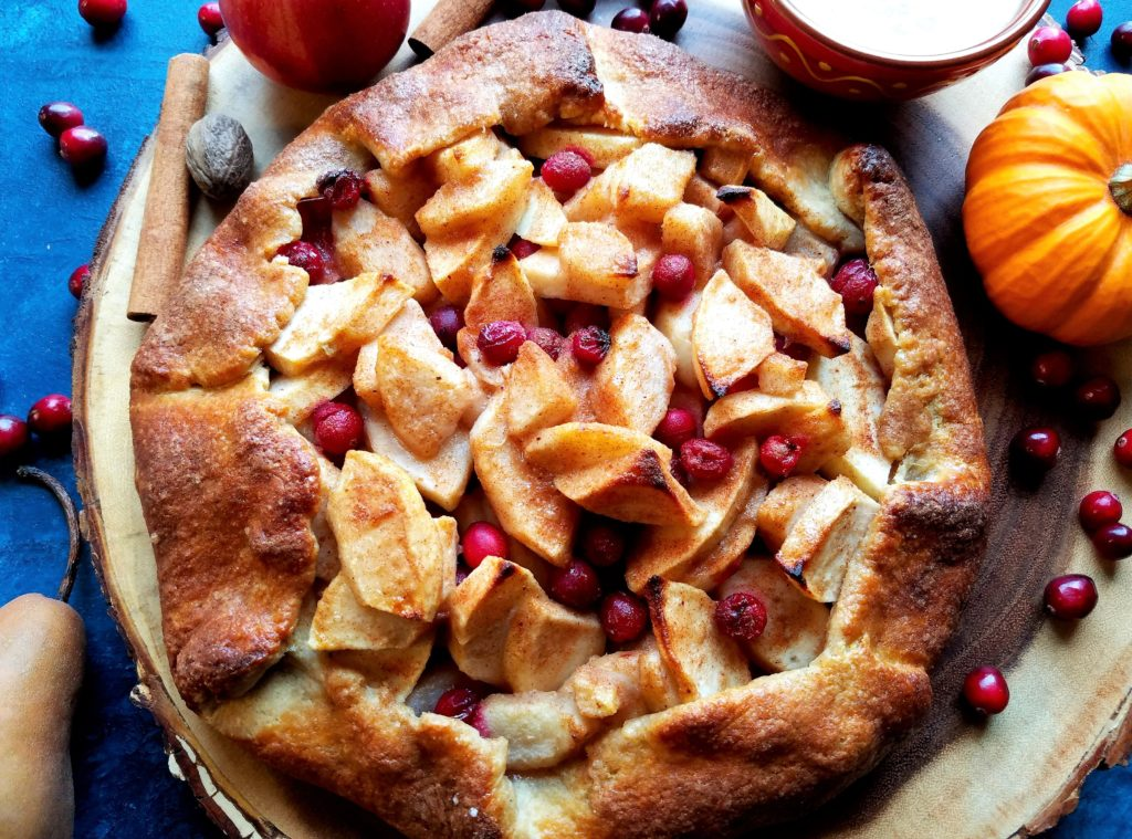 Apple Pear Cranberry Crostata with Pumpkin Caramel Sauce - So good!! | giveitsomethyme.com