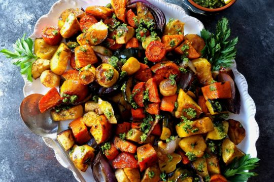 Balsamic Roasted Root Vegetables - Give it Some Thyme – a delicious and easy side dish recipe that's a medley of caramelized sweet potatoes, acorn squash, carrots, parsnips, and red onion then finished with carrot top cashew pesto! #roastedrootvegetables #roastedrootvegetablesoven #roastedrootvegetablesthanksgiving #roastedrootvegetableseasy #roastedrootvegetablesrecipes #balsamicroastedrootvegetables #giveitsomethyme #thanksgivingsidedishrecipes #easythanksgivingsidedishrecipes
