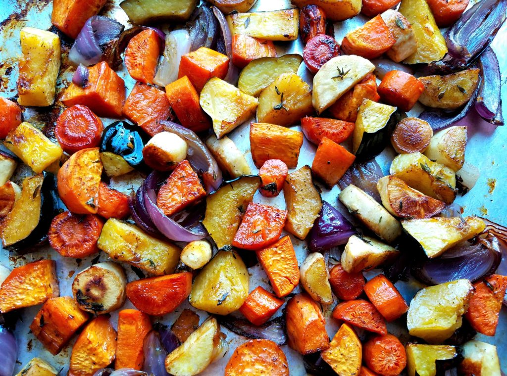 Roasted Autumn Root Vegetables Just out of Oven