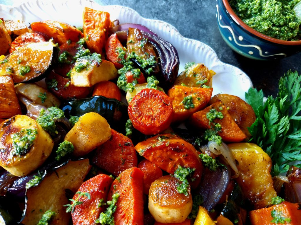 Balsamic Roasted Root Vegetables with Carrot Top Cashew Pesto | giveitsomethyme.com