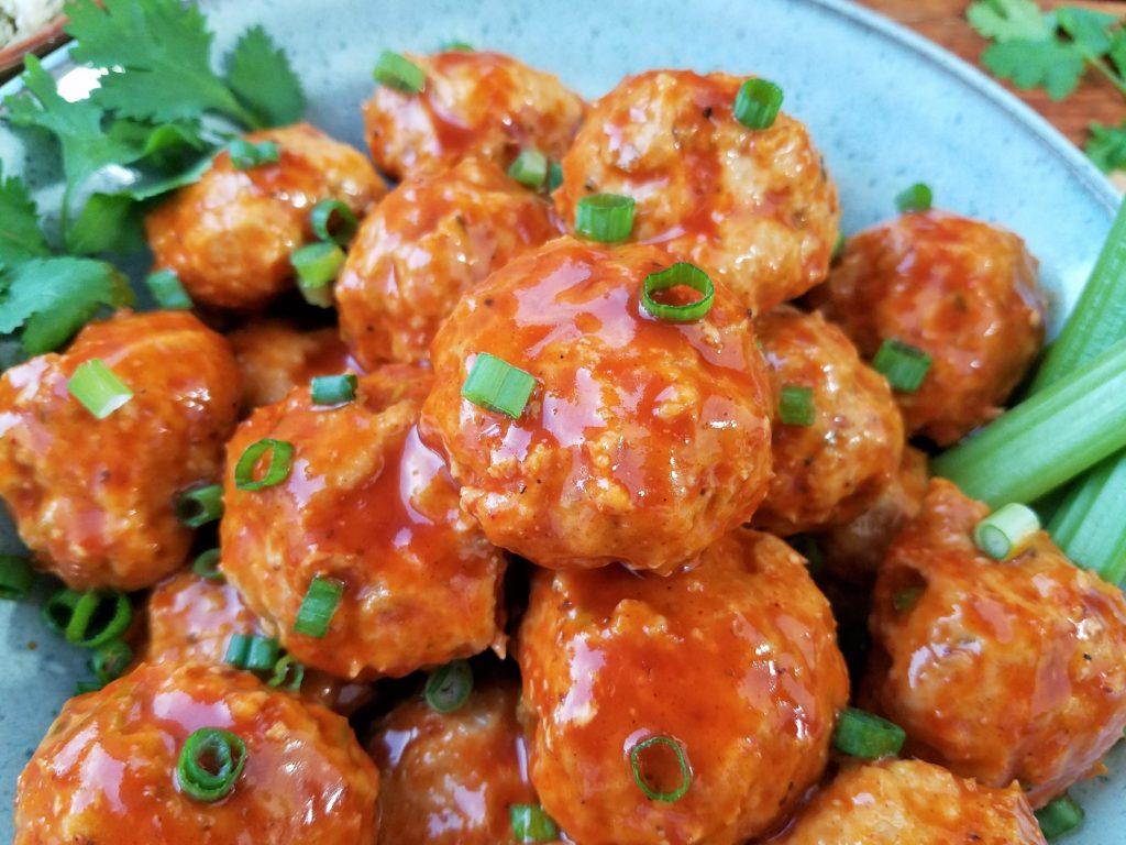 Buffalo BBQ Chicken Meatballs | giveitsomethyme.com
