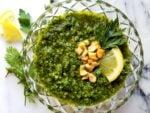 Carrot Top Cashew Pesto - 8 ingredients deliciously spun into an all-purpose pesto! | giveitsomethyme.com