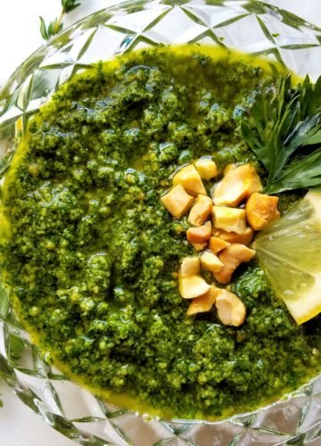 Carrot Top Cashew Pesto - 8 ingredients deliciously spun into an all-purpose pesto! | giveitsomethyme.com