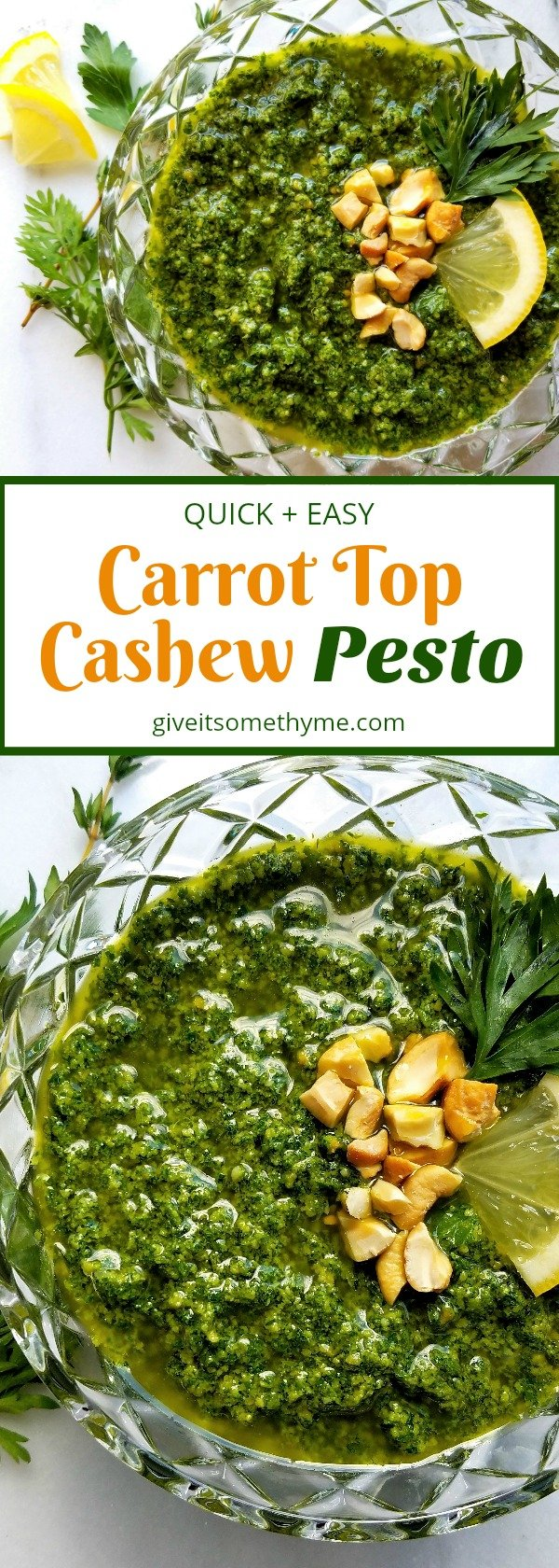 Carrot Top Cashew Pesto - Give it Some Thyme