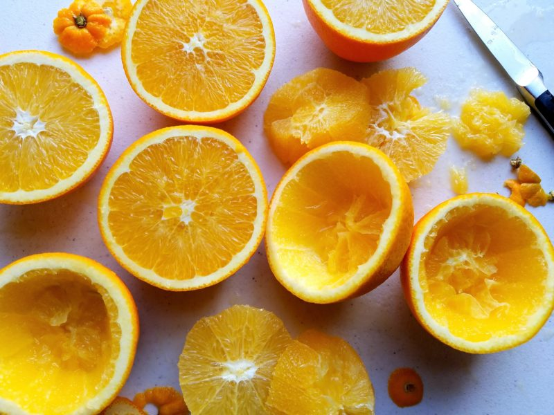 Navel Oranges Used as Cups for Whipped Sweet Potatoes