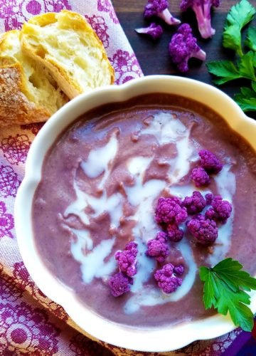 Roasted Purple Cauliflower Sweet Potato Soup - Simply roast all the veggies for deepened caramelized flavor. Thick, creamy, vegan + gluten free! :) | giveitsomethyme.com