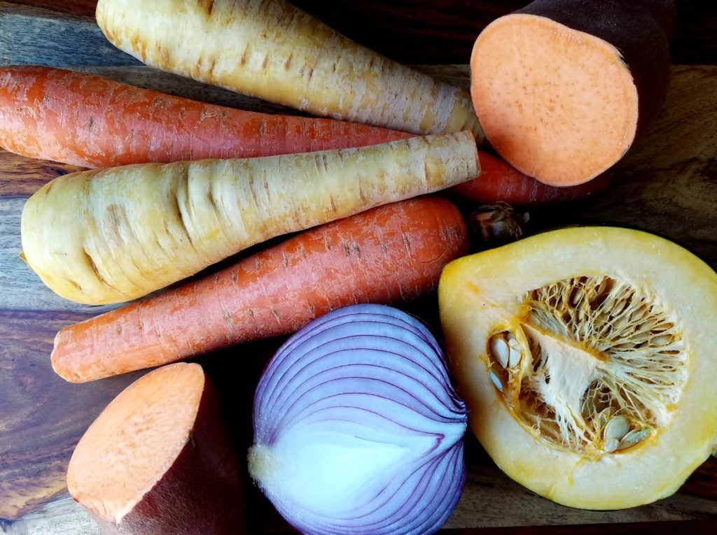 Autumn Root Vegetables to Roast - sweet potatoes, carrots, parsnips, acorn squash and red onion