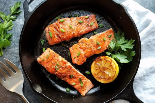 Caramelized Salmon - 5-ingredient rub forms a sweet crust encasing the delicate fillet and cooks in just minutes! | giveitsomethyme.com