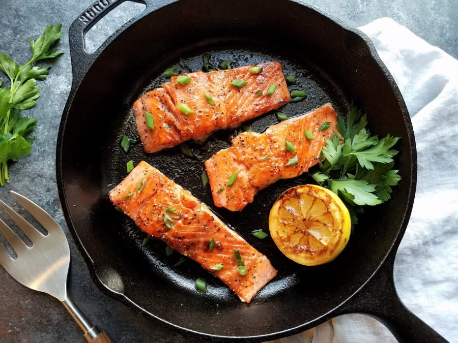 Caramelized Salmon - 5-ingredient rub forms a sweet crust encasing the delicate fillet and cooks in just minutes!   giveitsomethyme.com