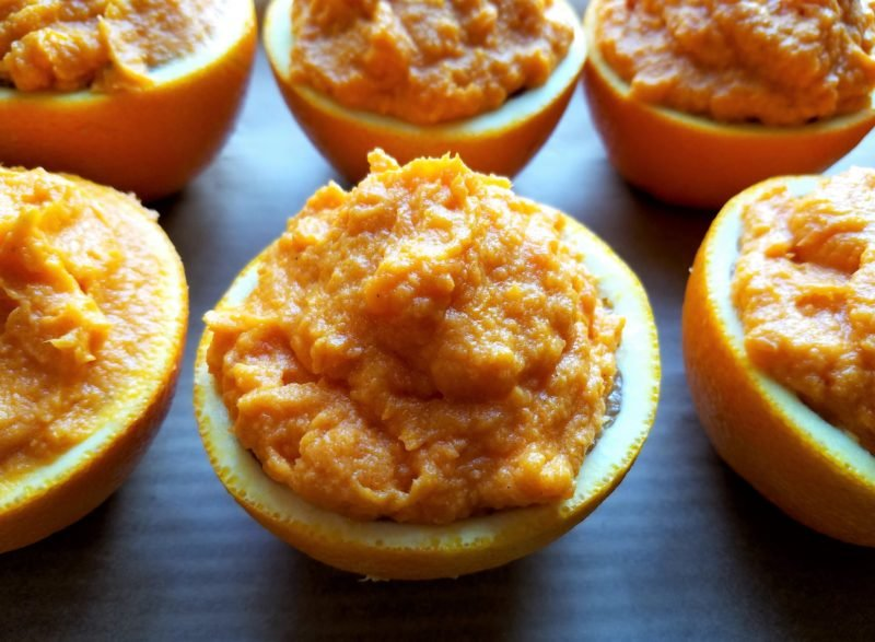 Orange Cups Mounded with Whipped Sweet Potatoes