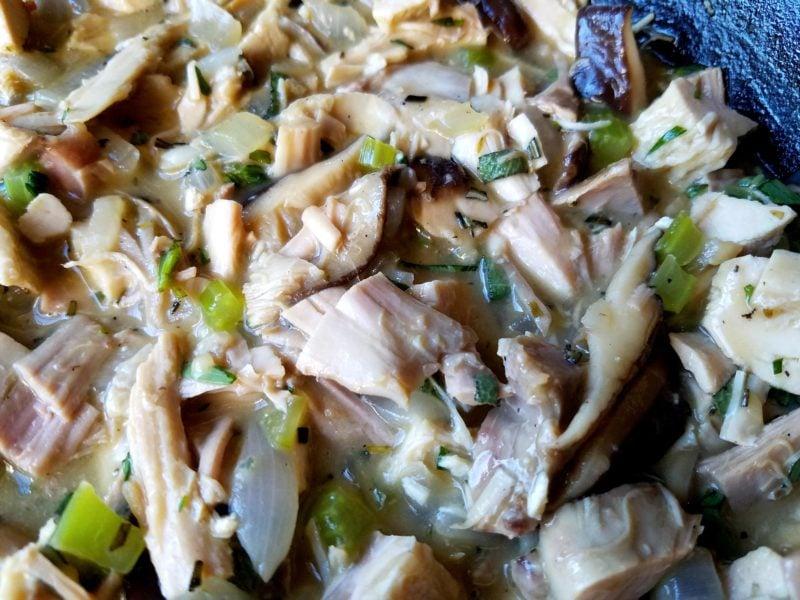 Chopped Turkey with Celery Onion Herbs in Gravy