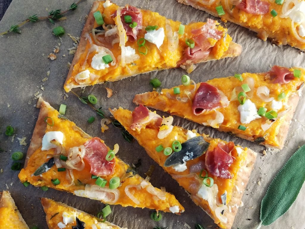 Roasted Butternut Squash Flatbread with Caramelized Shallots, Goat Cheese, Prosciutto & Sage close up | giveitsomethyme.com
