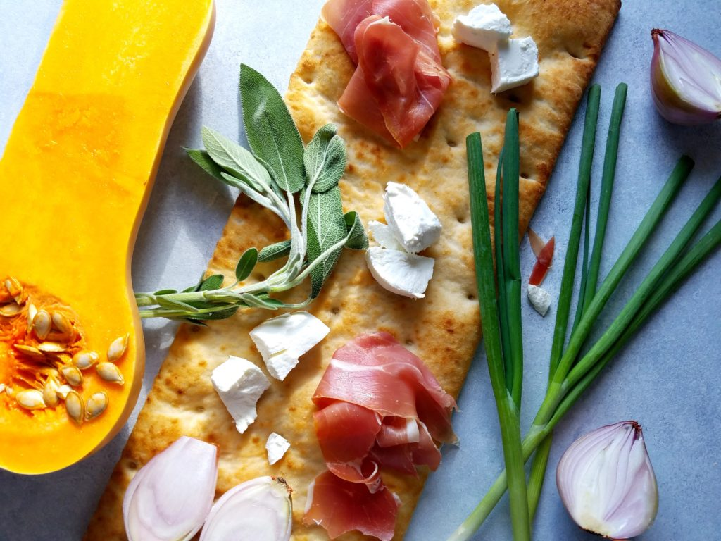 Butternut Squash Flatbread Ingredients - goat cheese, shallots, prosciutto, sage and scallions