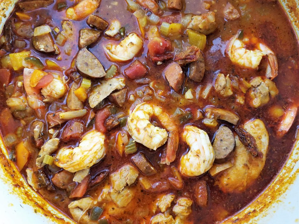 Chicken Shrimp Sausage Stew Ready to Serve from Pot