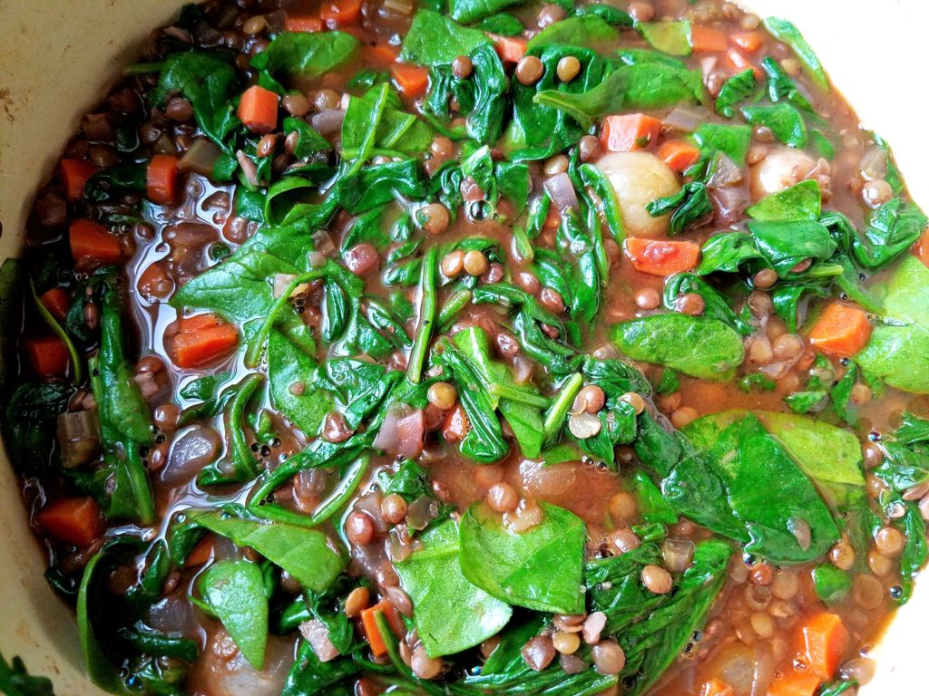 Wine Braised Lentil Stew with Wilted Spinach