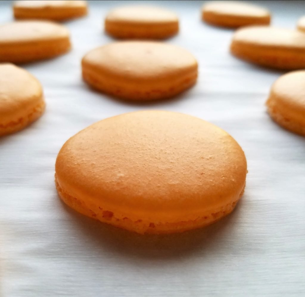 Orange Macaron Shells Baked