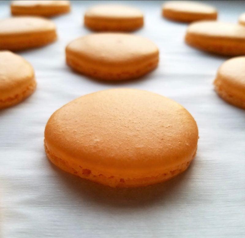 Macaron shells baked.