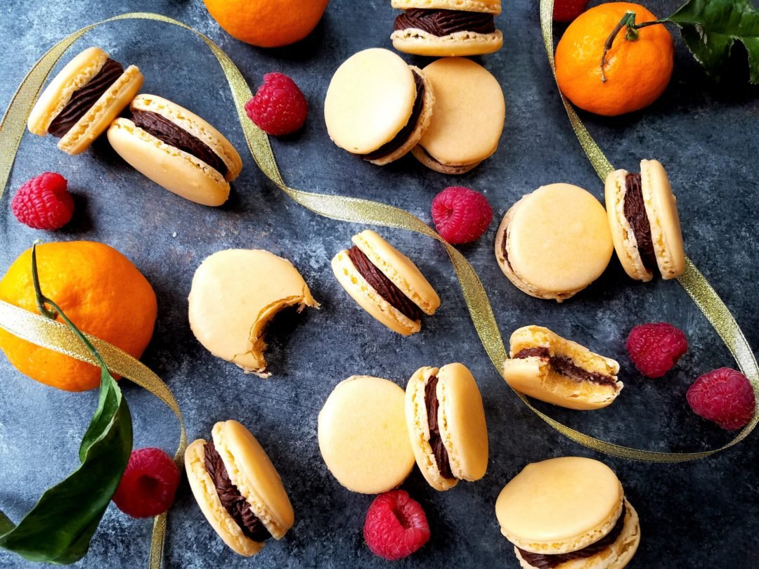 Orange French Macarons with Chocolate Raspberry Buttercream | giveitsomethyme.com
