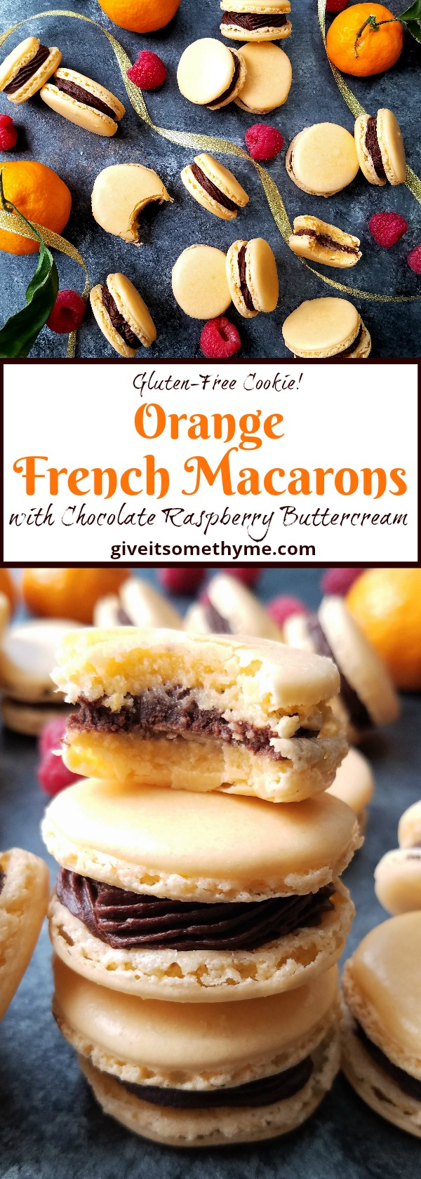 Orange French Macarons with Chocolate Raspberry Buttercream | Give it Some Thyme