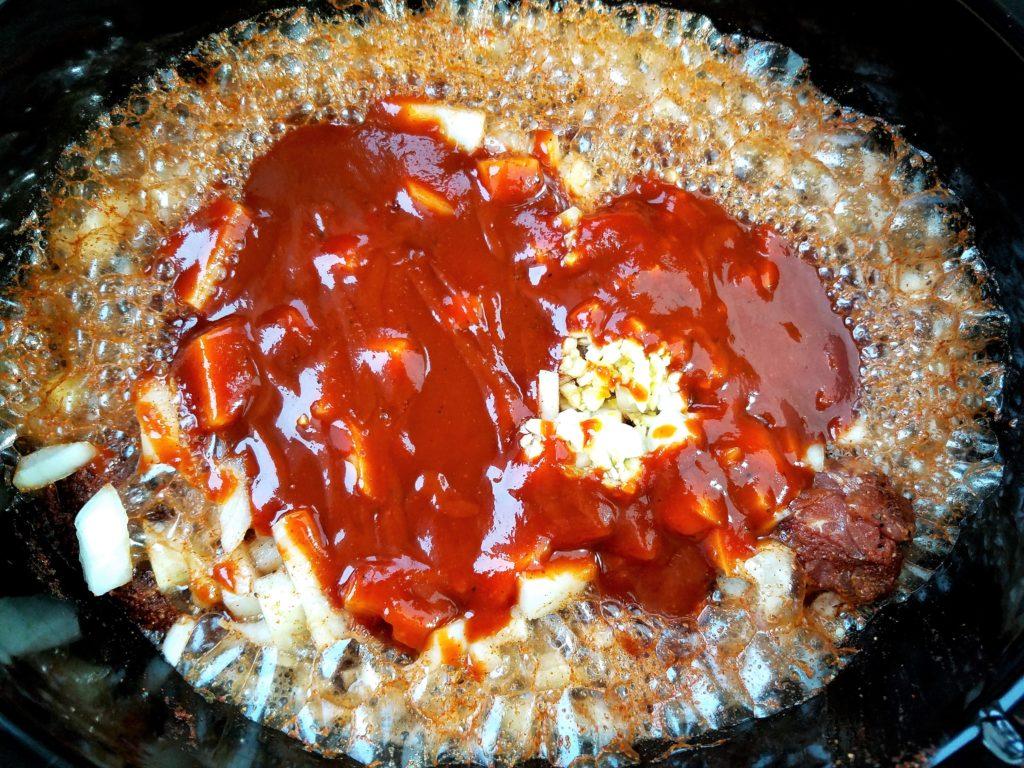 Pork Tenderloins in Slow Cooker with Onion, Garlic, Root Beer & BBQ Sauce