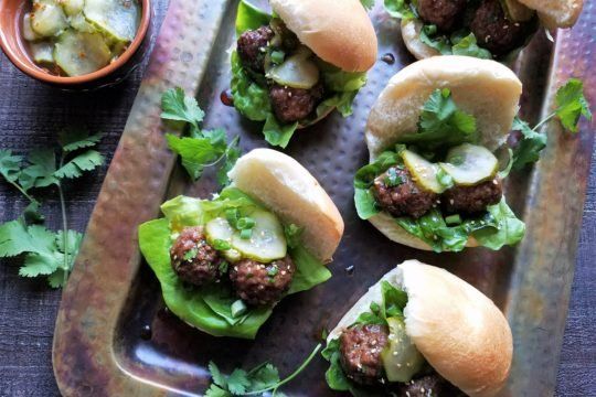 Asian Meatball Sliders with Served with Spicy Pickles | giveitsomethyme.com
