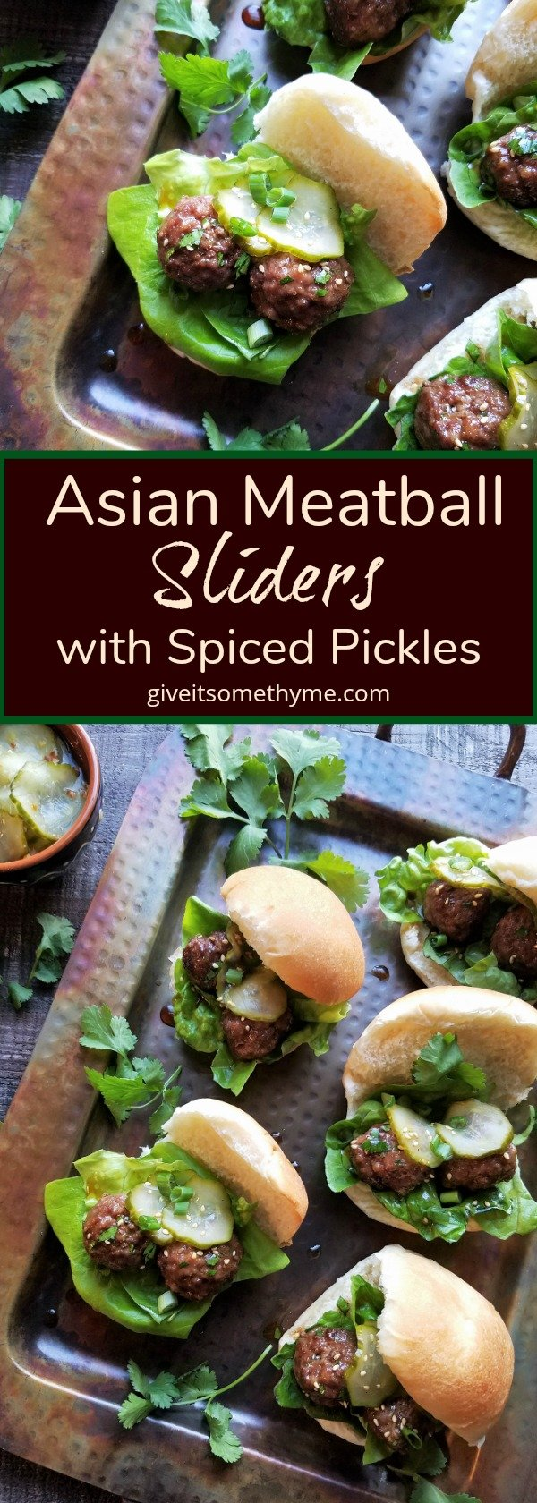 Asian Meatball Sliders with Spiced Pickles - Give it Some Thyme