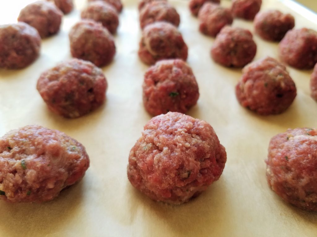 Asian Meatballs Formed and Ready to Bake