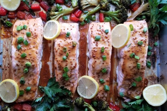Roasted Salmon and Broccoli with Soy Mustard Glaze | giveitsomethyme.com