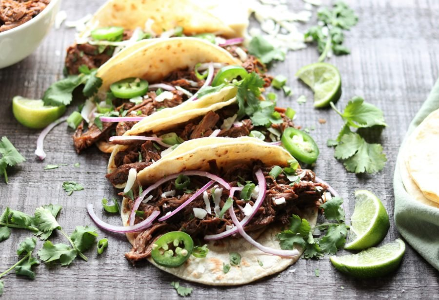 Slow Cooker Ancho Chile Short Rib Tacos | Give it Some Thyme – a super flavorful slow cooker recipe that makes the short ribs fall-off-the-bone tender! #shortribs #shortribtacos #slowcookerrecipes #crockpotrecipes #tacos #shortribsslowcooker #shortribsrecipecrockpot #fallrecipes #glutenfree #potluck #gamedayfood #giveitsomethyme