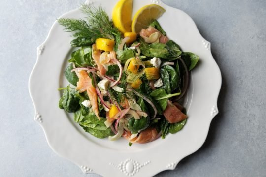 Smoked Salmon Spinach Salad with Mango Avocado and Lemon Dijon Vinaigrette - giveitsomethyme.com