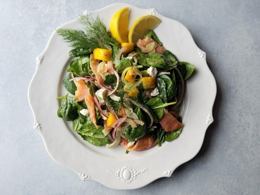 Smoked Salmon Spinach Salad with Mango Avocado and Lemon Dijon Vinaigrette - giveitsomethyme.com